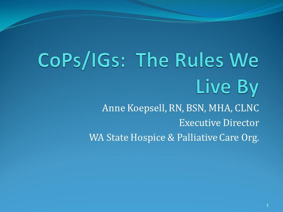 Anne Koepsell, RN, BSN, MHA, CLNC Executive Director WA State Hospice & Palliative Care Org. 1