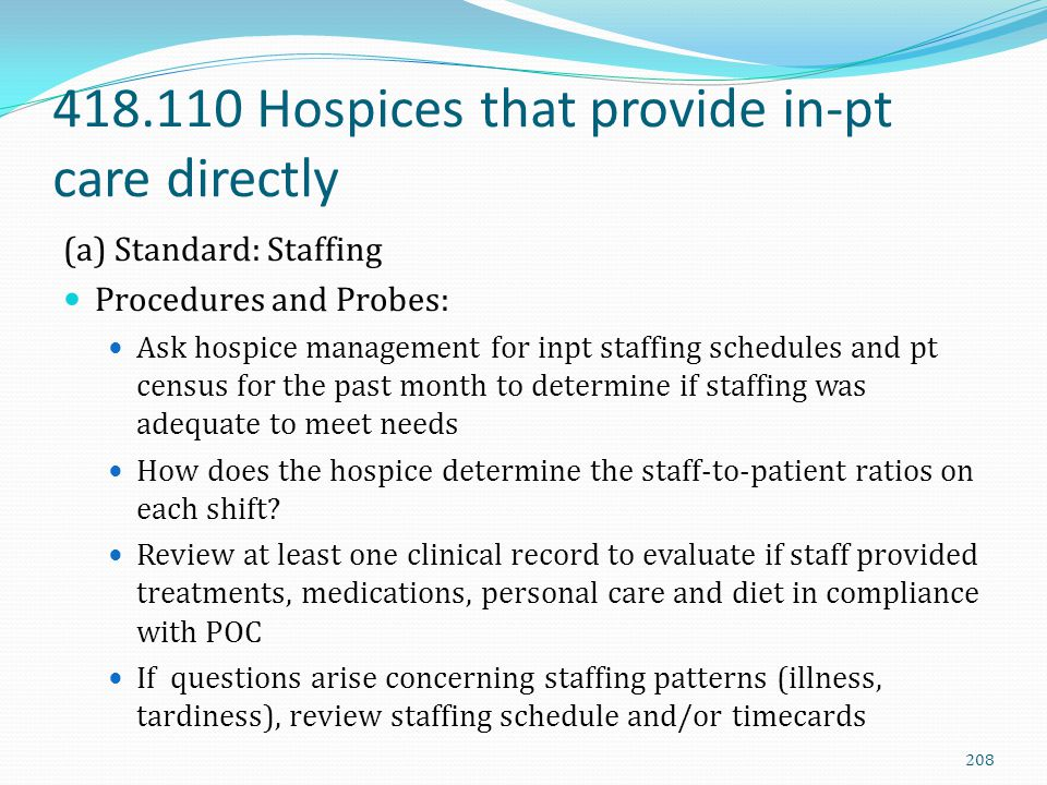 418.110 Hospices that provide in-pt care directly (a) Standard: Staffing Procedures and Probes: Ask hospice management for inpt staffing schedules and