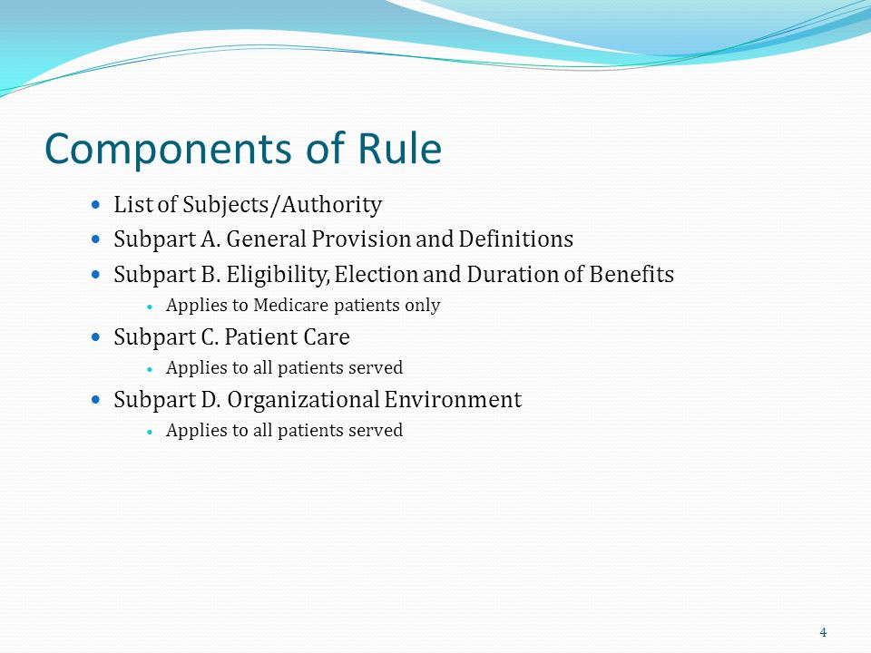 SUBPART D: ORGANIZATIONAL ENVIRONMENT Conditions: Organization and administration of services Medical Director Clinical Records Drugs, Biologicals, Medical Supplies, DME Short Term Inpatient Care Hospices that provide inpatient care directly Hospice that provide care to residents in SNF/NF Personnel qualifications Compliance 165