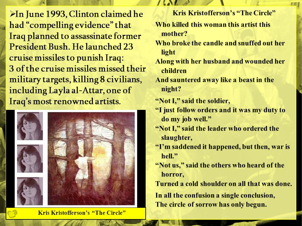  In June 1993, Clinton claimed he had compelling evidence that Iraq planned to assassinate former President Bush.
