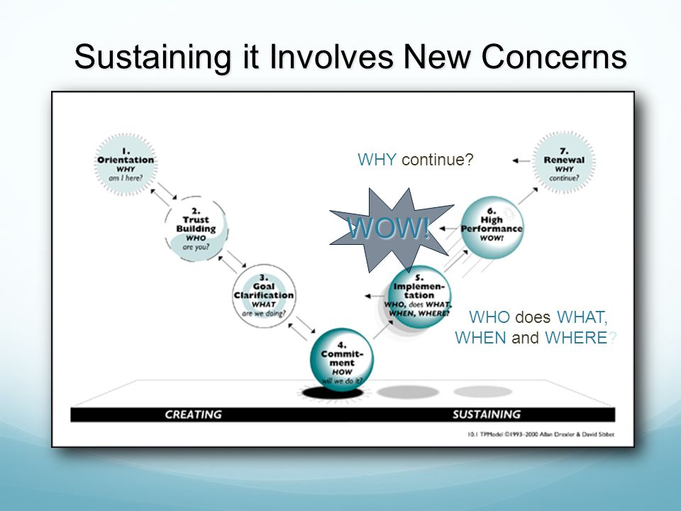 Sustaining it Involves New Concerns Sustaining it Involves New Concerns WHY continue? WOW! WHO does WHAT, WHEN and WHERE?