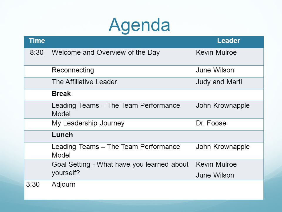 Agenda TimeLeader 8:30Welcome and Overview of the DayKevin Mulroe ReconnectingJune Wilson The Affiliative LeaderJudy and Marti Break Leading Teams – The Team Performance Model John Krownapple My Leadership JourneyDr.