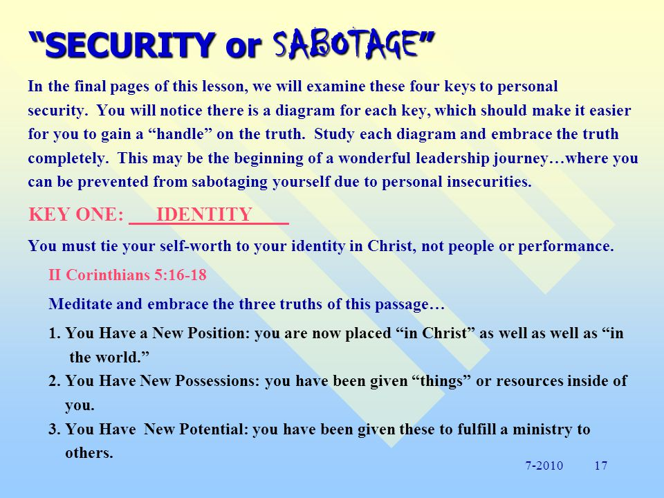 SECURITY or SABOTAGE KEYS TO PERSONAL SECURITY 1.