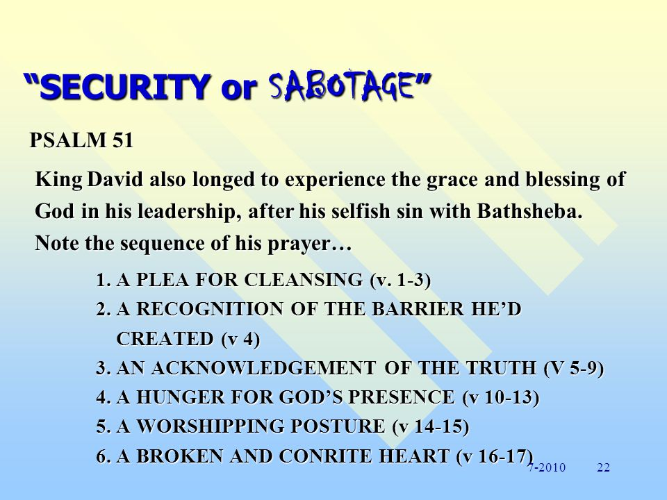 SECURITY or SABOTAGE GOD NEED SURRENDER or SEARCH DENIAL or BROKENNESS EMPTINESS TEMPORARYSATISFACTION MOTIVATION BASICASSUMPTION GOALREACHED DRIVENBEHAVIOR OBSTACLES It is dangerous for God to empower an unbroken man.