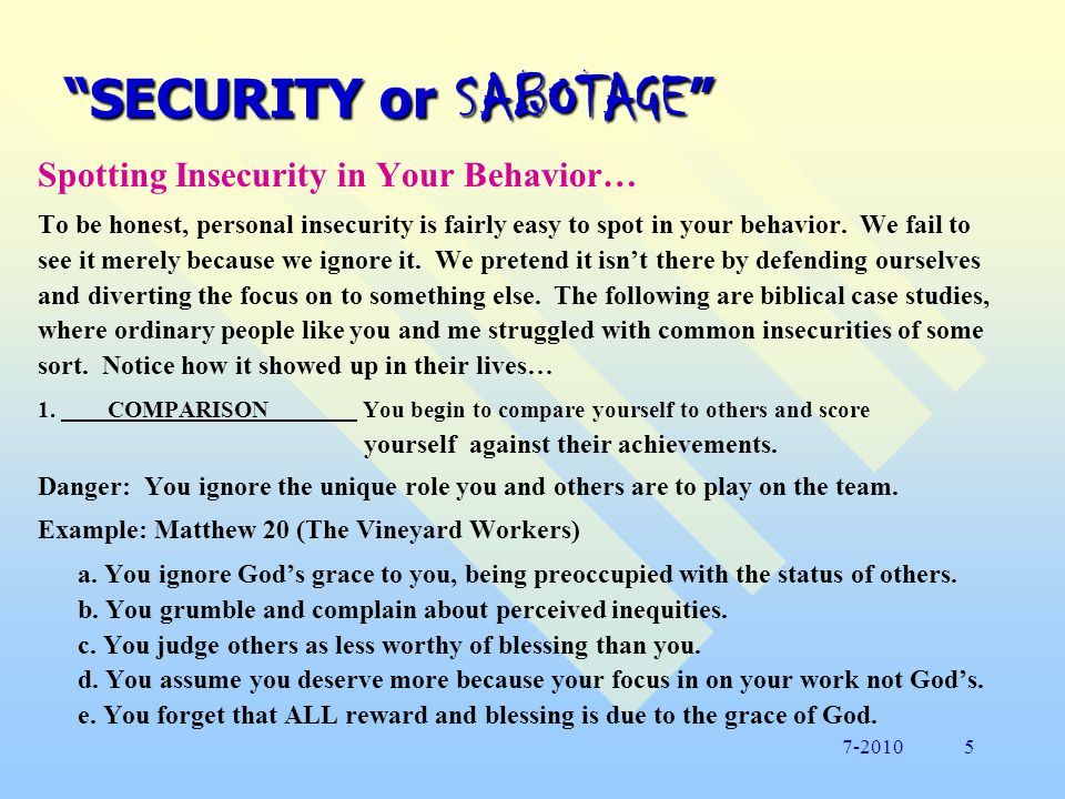 SECURITY or SABOTAGE To Put it Graphically… Study the diagram below.