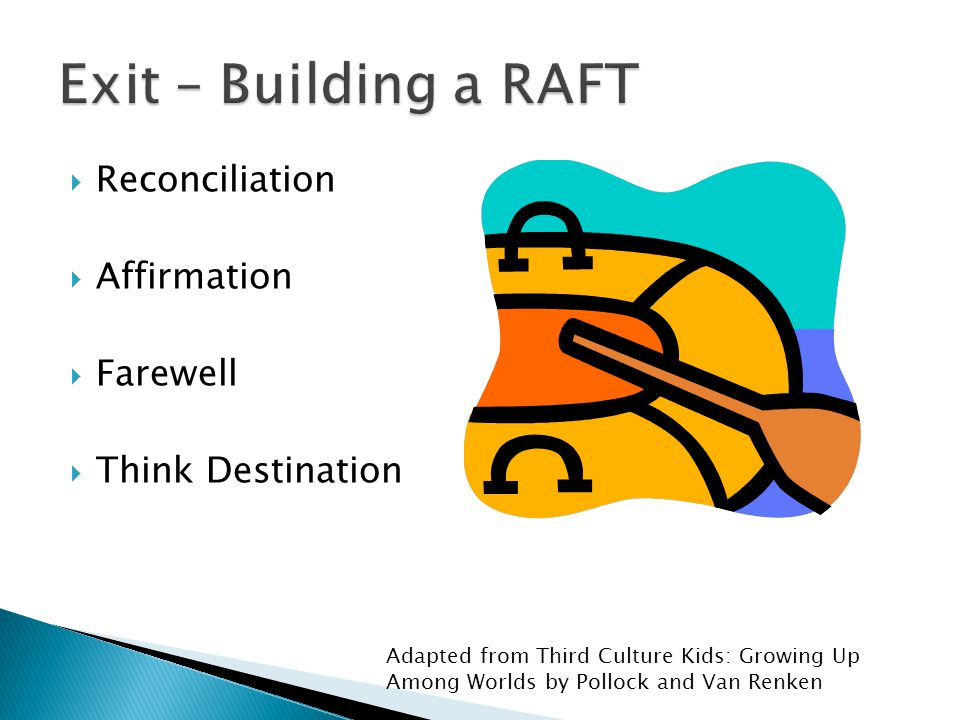  Reconciliation  Affirmation  Farewell  Think Destination Adapted from Third Culture Kids: Growing Up Among Worlds by Pollock and Van Renken