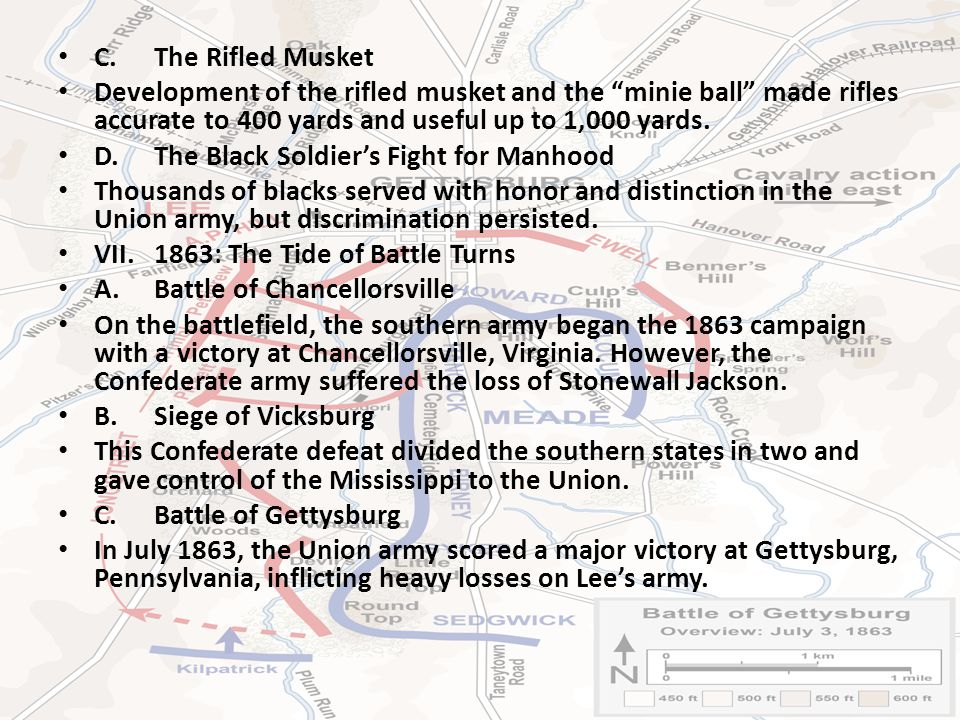 C.The Rifled Musket Development of the rifled musket and the minie ball made rifles accurate to 400 yards and useful up to 1,000 yards.