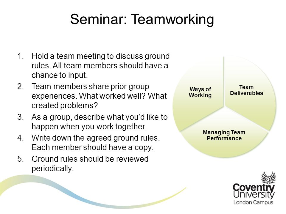 1.Hold a team meeting to discuss ground rules. All team members should have a chance to input. 2.Team members share prior group experiences. What work