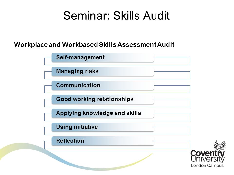 Workplace and Workbased Skills Assessment Audit Seminar: Skills Audit Self-managementManaging risksCommunicationGood working relationshipsApplying knowledge and skillsUsing initiativeReflection