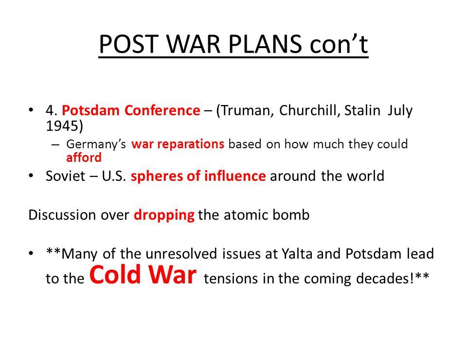 POST WAR PLANS con't 4.