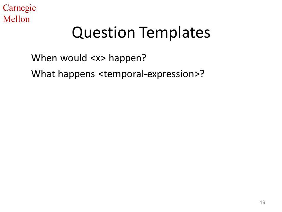 Carnegie Mellon Question Templates When would happen What happens 19