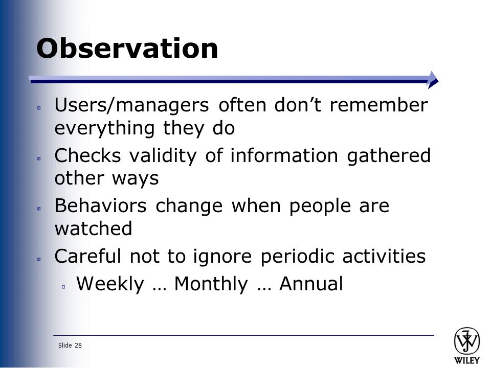 Slide 28 Observation Users/managers often don't remember everything they do Checks validity of information gathered other ways Behaviors change when people are watched Careful not to ignore periodic activities Weekly … Monthly … Annual