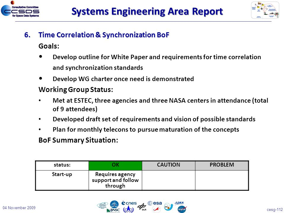 cesg-112 04 November 2009 6.Time Correlation & Synchronization BoF Goals: Develop outline for White Paper and requirements for time correlation and synchronization standards Develop WG charter once need is demonstrated Working Group Status: Met at ESTEC, three agencies and three NASA centers in attendance (total of 9 attendees) Developed draft set of requirements and vision of possible standards Plan for monthly telecons to pursue maturation of the concepts BoF Summary Situation: status:OKCAUTIONPROBLEM Start-upRequires agency support and follow through Systems Engineering Area Report