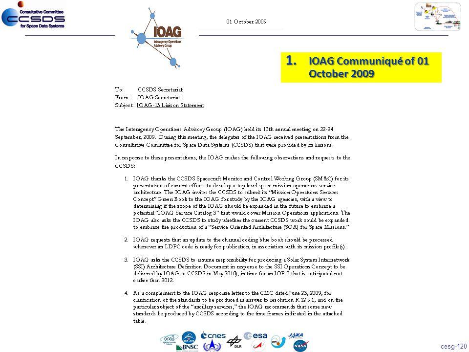 cesg-120 1. IOAG Communiqué of 01 October 2009