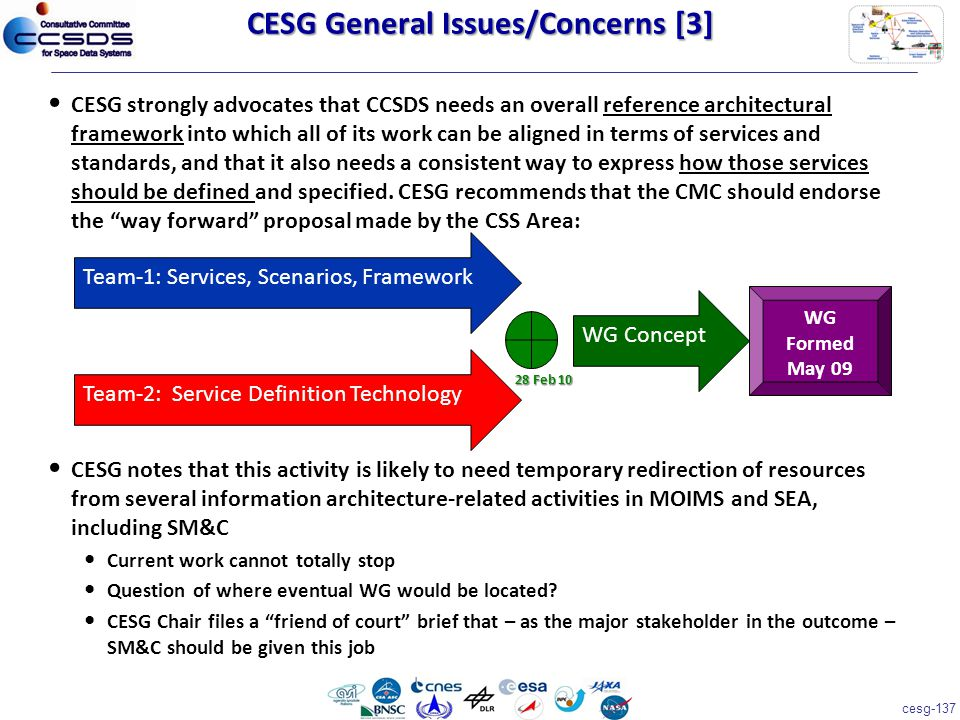 cesg-137 CESG strongly advocates that CCSDS needs an overall reference architectural framework into which all of its work can be aligned in terms of services and standards, and that it also needs a consistent way to express how those services should be defined and specified.