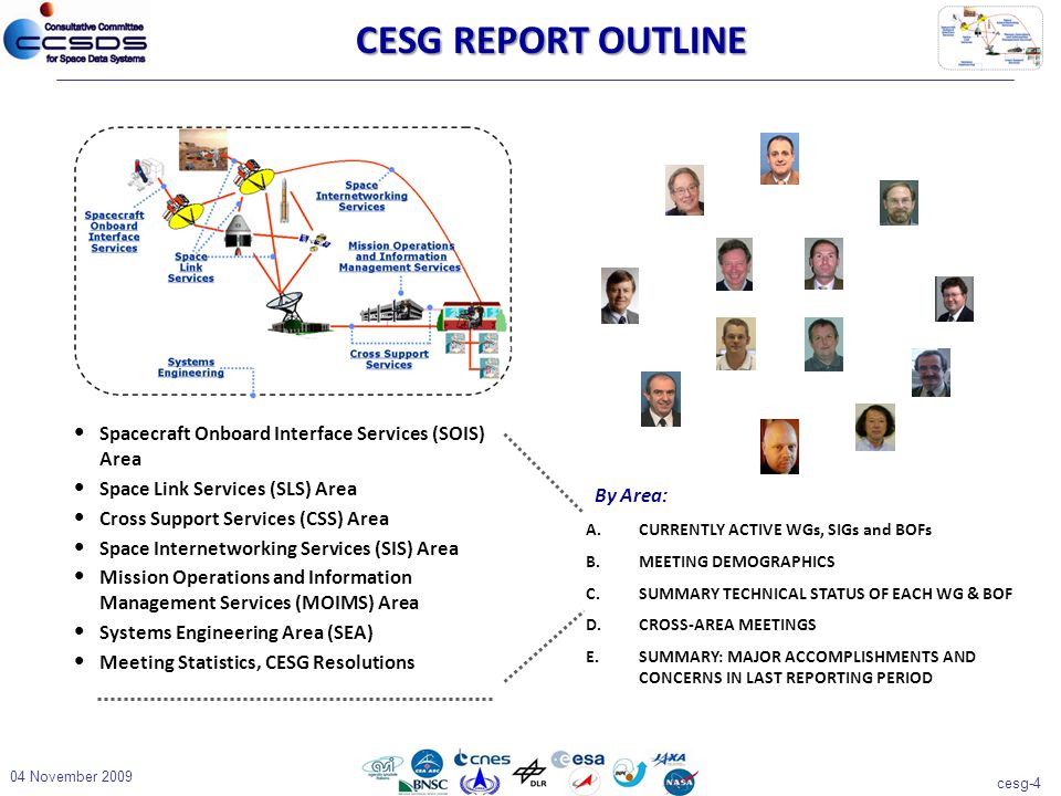 cesg-4 04 November 2009 CESG REPORT OUTLINE By Area: A.CURRENTLY ACTIVE WGs, SIGs and BOFs B.MEETING DEMOGRAPHICS C.SUMMARY TECHNICAL STATUS OF EACH WG & BOF D.CROSS-AREA MEETINGS E.SUMMARY: MAJOR ACCOMPLISHMENTS AND CONCERNS IN LAST REPORTING PERIOD Spacecraft Onboard Interface Services (SOIS) Area Space Link Services (SLS) Area Cross Support Services (CSS) Area Space Internetworking Services (SIS) Area Mission Operations and Information Management Services (MOIMS) Area Systems Engineering Area (SEA) Meeting Statistics, CESG Resolutions
