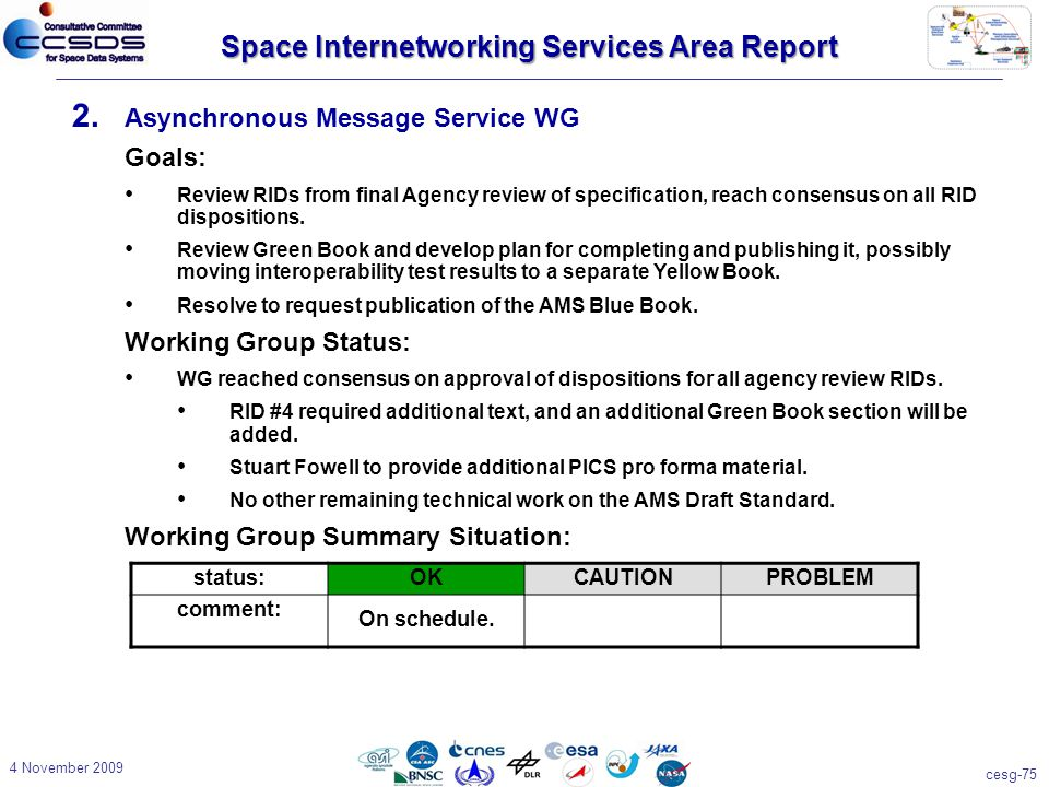 cesg-75 4 November 2009 2. Asynchronous Message Service WG Goals: Review RIDs from final Agency review of specification, reach consensus on all RID di