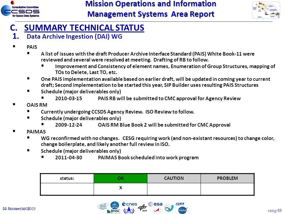 cesg-88 04 November 2009 22 October 2008 1. Data Archive Ingestion (DAI) WG C.SUMMARY TECHNICAL STATUS status:OKCAUTIONPROBLEM X  PAIS  A list of is