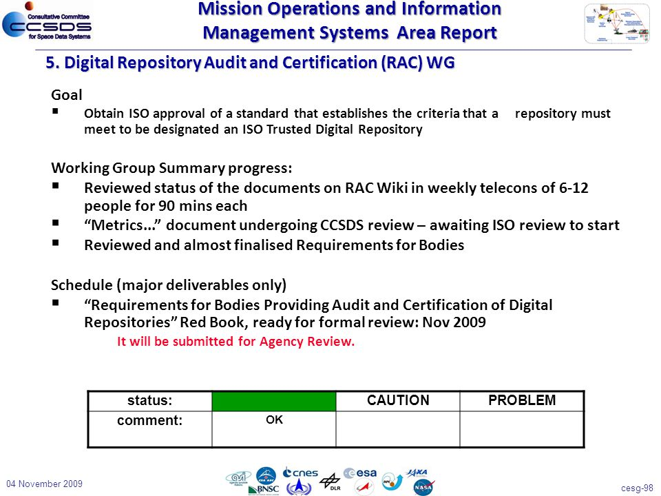 cesg-98 04 November 2009 5. Digital Repository Audit and Certification (RAC) WG Goal  Obtain ISO approval of a standard that establishes the criteria