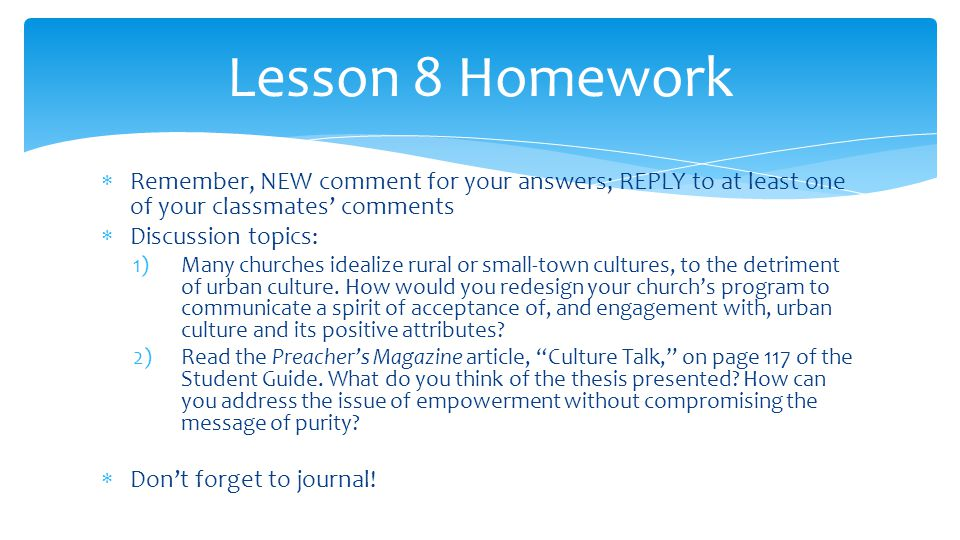  Remember, NEW comment for your answers; REPLY to at least one of your classmates' comments  Discussion topics: 1)Many churches idealize rural or small-town cultures, to the detriment of urban culture.