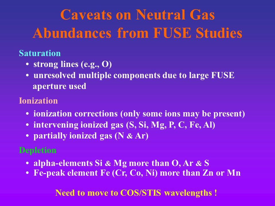 Caveats on Neutral Gas Abundances from FUSE Studies Saturation strong lines (e.g., O) unresolved multiple components due to large FUSE aperture used Ionization ionization corrections (only some ions may be present) intervening ionized gas (S, Si, Mg, P, C, Fe, Al) partially ionized gas (N & Ar) Depletion alpha-elements Si & Mg more than O, Ar & S Fe-peak element Fe (Cr, Co, Ni) more than Zn or Mn Need to move to COS/STIS wavelengths !