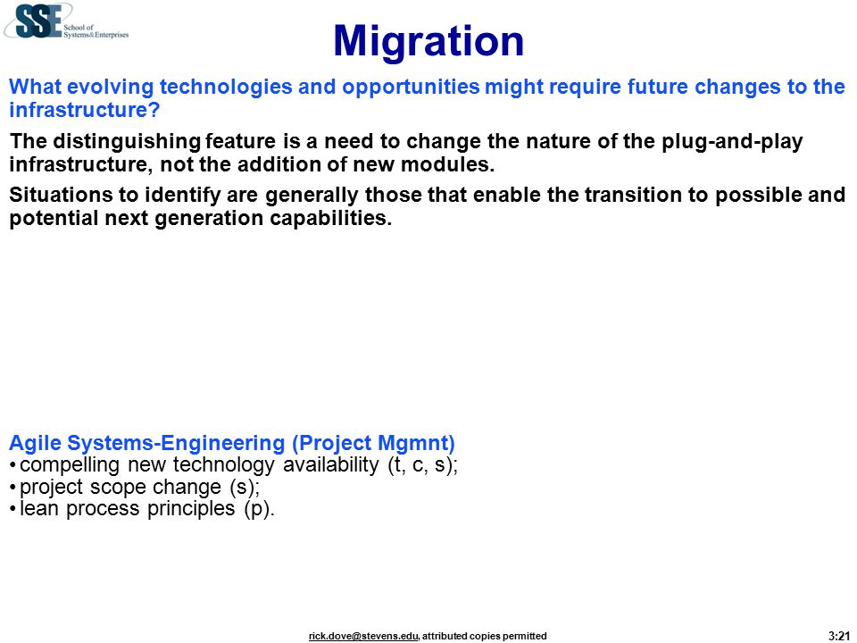3:21 rick.dove@stevens.edurick.dove@stevens.edu, attributed copies permitted Migration What evolving technologies and opportunities might require future changes to the infrastructure.