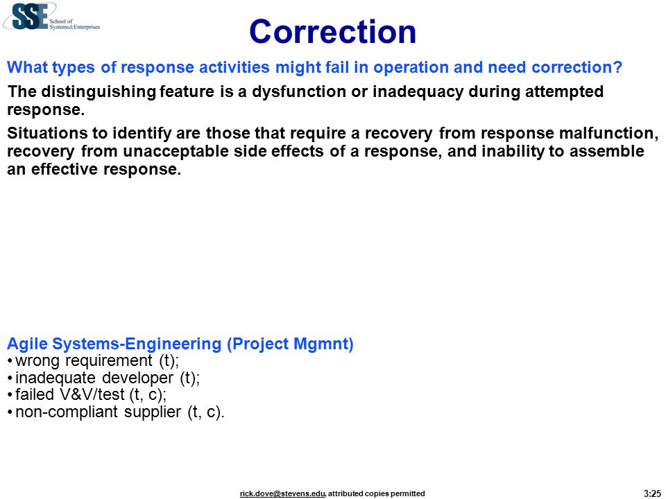 3:25 rick.dove@stevens.edurick.dove@stevens.edu, attributed copies permitted Correction What types of response activities might fail in operation and need correction.