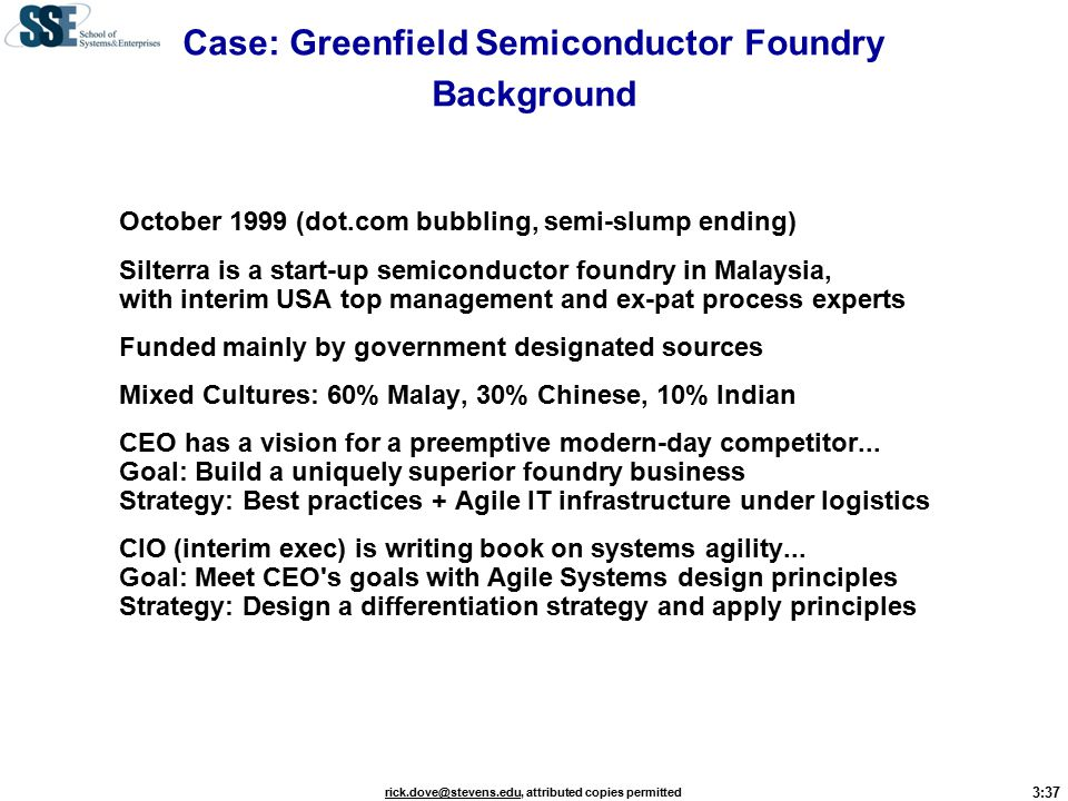 3:37 rick.dove@stevens.edurick.dove@stevens.edu, attributed copies permitted Case: Greenfield Semiconductor Foundry Background October 1999 (dot.com bubbling, semi-slump ending) Silterra is a start-up semiconductor foundry in Malaysia, with interim USA top management and ex-pat process experts Funded mainly by government designated sources Mixed Cultures: 60% Malay, 30% Chinese, 10% Indian CEO has a vision for a preemptive modern-day competitor...