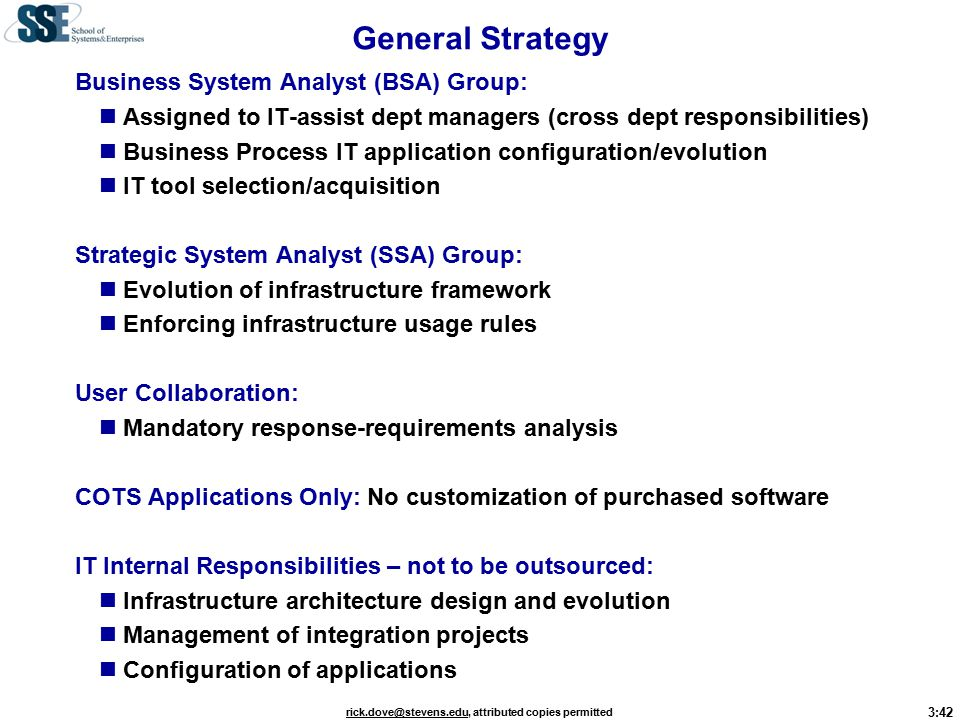 3:42 rick.dove@stevens.edurick.dove@stevens.edu, attributed copies permitted General Strategy Business System Analyst (BSA) Group: Assigned to IT-assist dept managers (cross dept responsibilities) Business Process IT application configuration/evolution IT tool selection/acquisition Strategic System Analyst (SSA) Group: Evolution of infrastructure framework Enforcing infrastructure usage rules User Collaboration: Mandatory response-requirements analysis COTS Applications Only: No customization of purchased software IT Internal Responsibilities – not to be outsourced: Infrastructure architecture design and evolution Management of integration projects Configuration of applications
