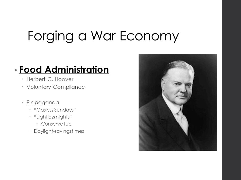 Forging a War Economy Food Administration  Herbert C.