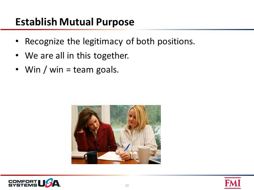 Establish Mutual Purpose Recognize the legitimacy of both positions.