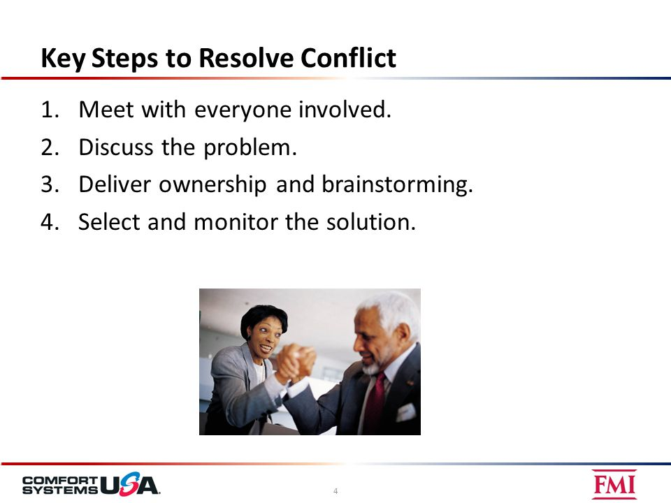 Key Steps to Resolve Conflict 1.Meet with everyone involved.