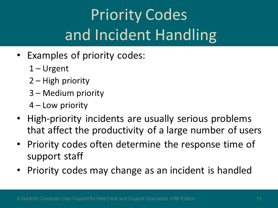 Priority Codes and Incident Handling Examples of priority codes: 1 – Urgent 2 – High priority 3 – Medium priority 4 – Low priority High-priority incid