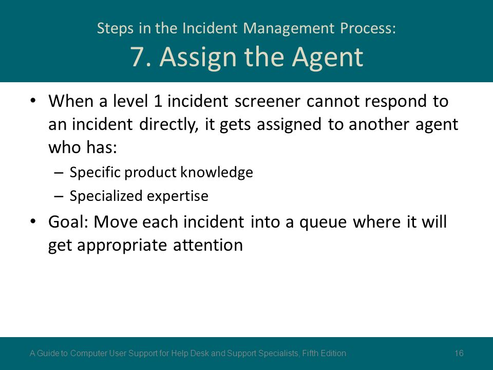 Steps in the Incident Management Process: 7. Assign the Agent When a level 1 incident screener cannot respond to an incident directly, it gets assigne