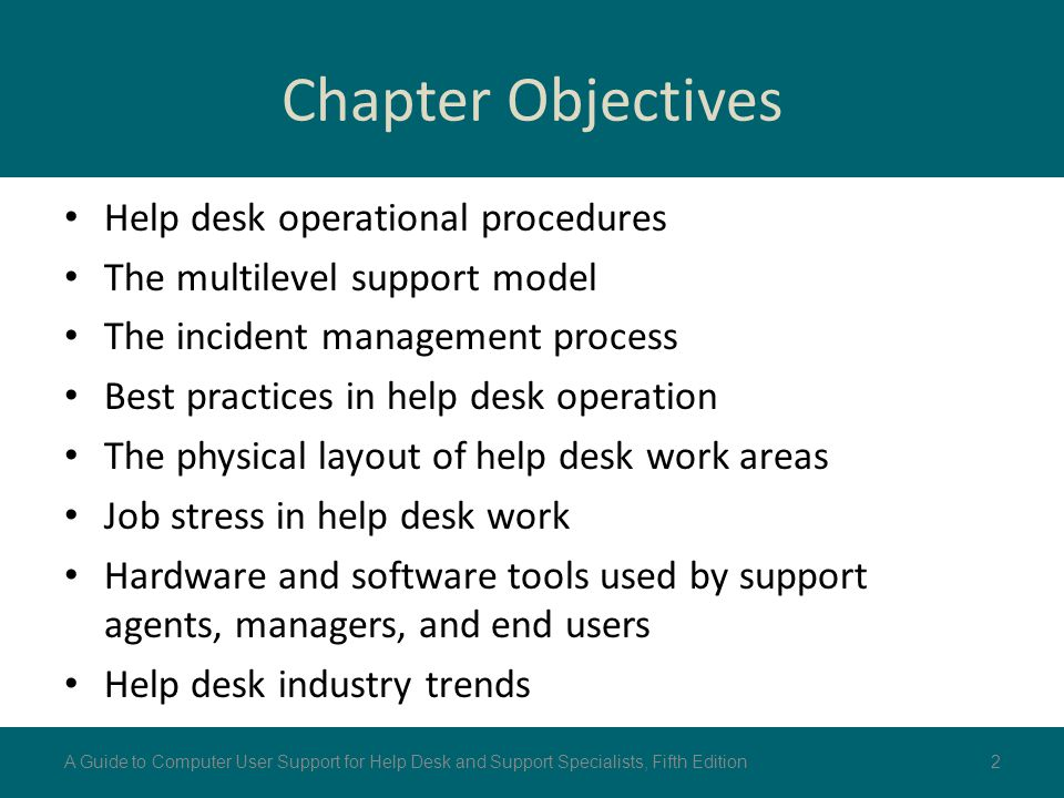 Chapter Objectives Help desk operational procedures The multilevel support model The incident management process Best practices in help desk operation