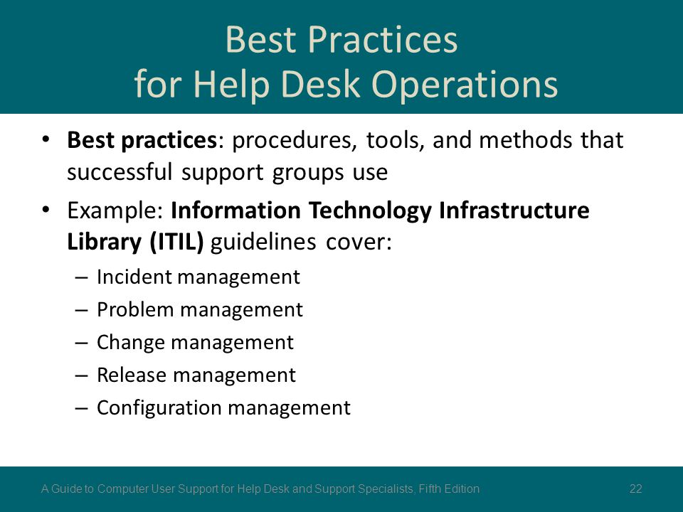 Best Practices for Help Desk Operations Best practices: procedures, tools, and methods that successful support groups use Example: Information Technol
