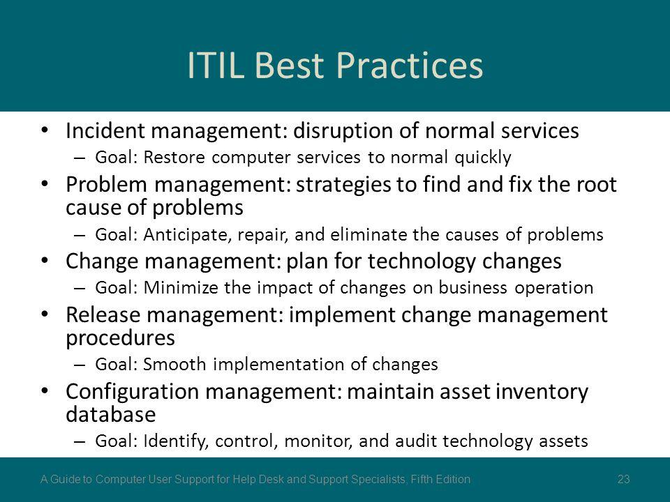 ITIL Best Practices Incident management: disruption of normal services – Goal: Restore computer services to normal quickly Problem management: strateg