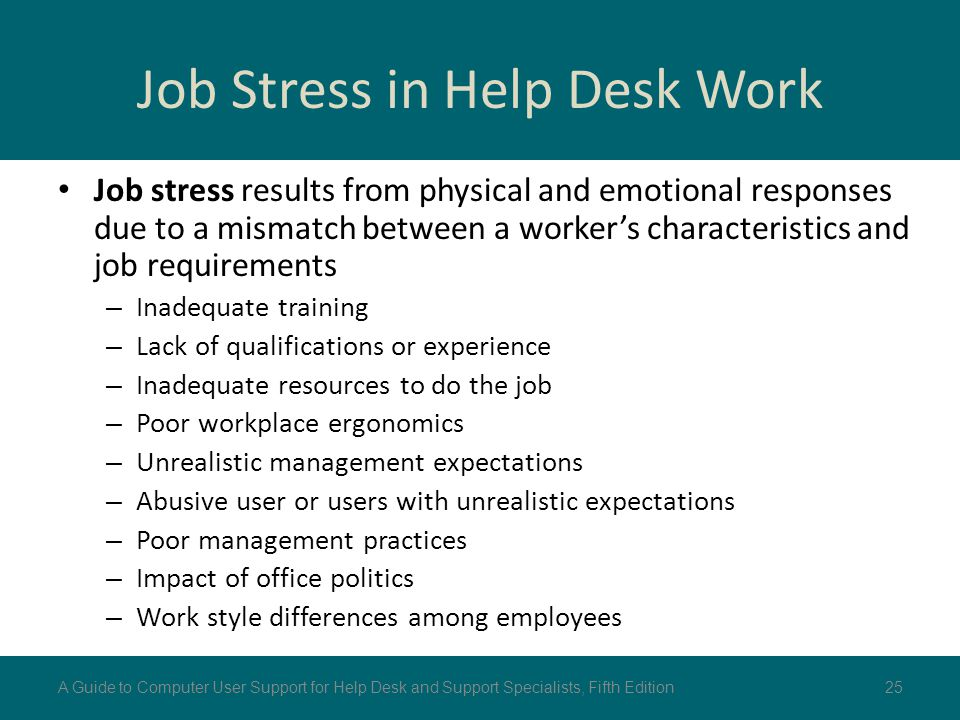 Job Stress in Help Desk Work Job stress results from physical and emotional responses due to a mismatch between a worker's characteristics and job req