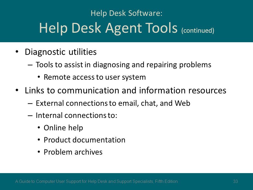 Diagnostic utilities – Tools to assist in diagnosing and repairing problems Remote access to user system Links to communication and information resour