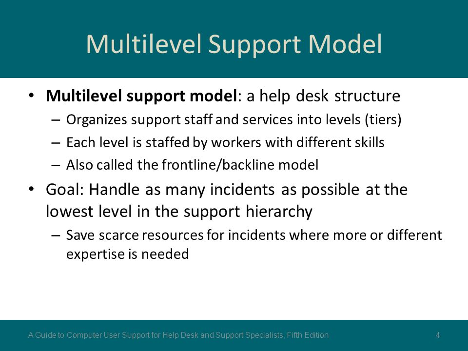 Multilevel Support Model Multilevel support model: a help desk structure – Organizes support staff and services into levels (tiers) – Each level is st
