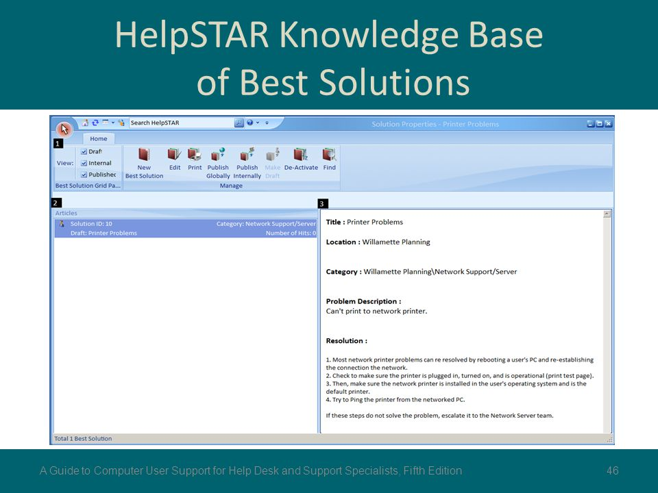 HelpSTAR Knowledge Base of Best Solutions 46A Guide to Computer User Support for Help Desk and Support Specialists, Fifth Edition