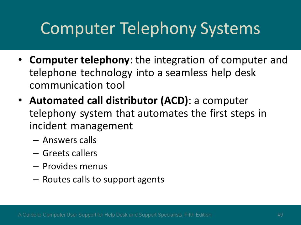 Computer Telephony Systems Computer telephony: the integration of computer and telephone technology into a seamless help desk communication tool Autom