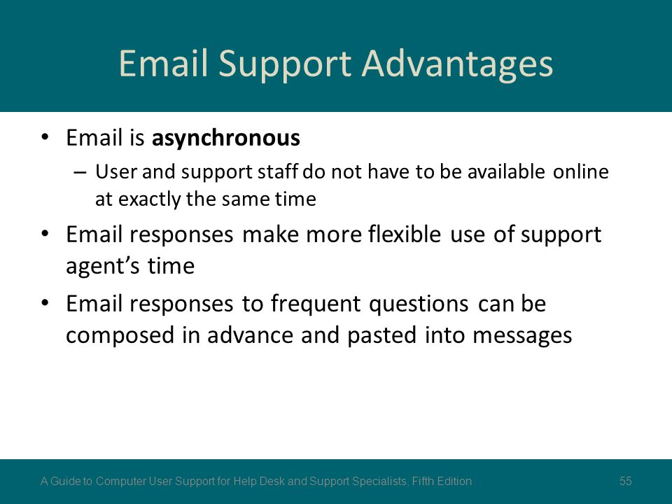 Email Support Advantages Email is asynchronous – User and support staff do not have to be available online at exactly the same time Email responses ma