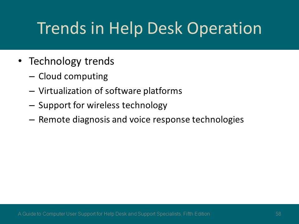 Trends in Help Desk Operation Technology trends – Cloud computing – Virtualization of software platforms – Support for wireless technology – Remote di