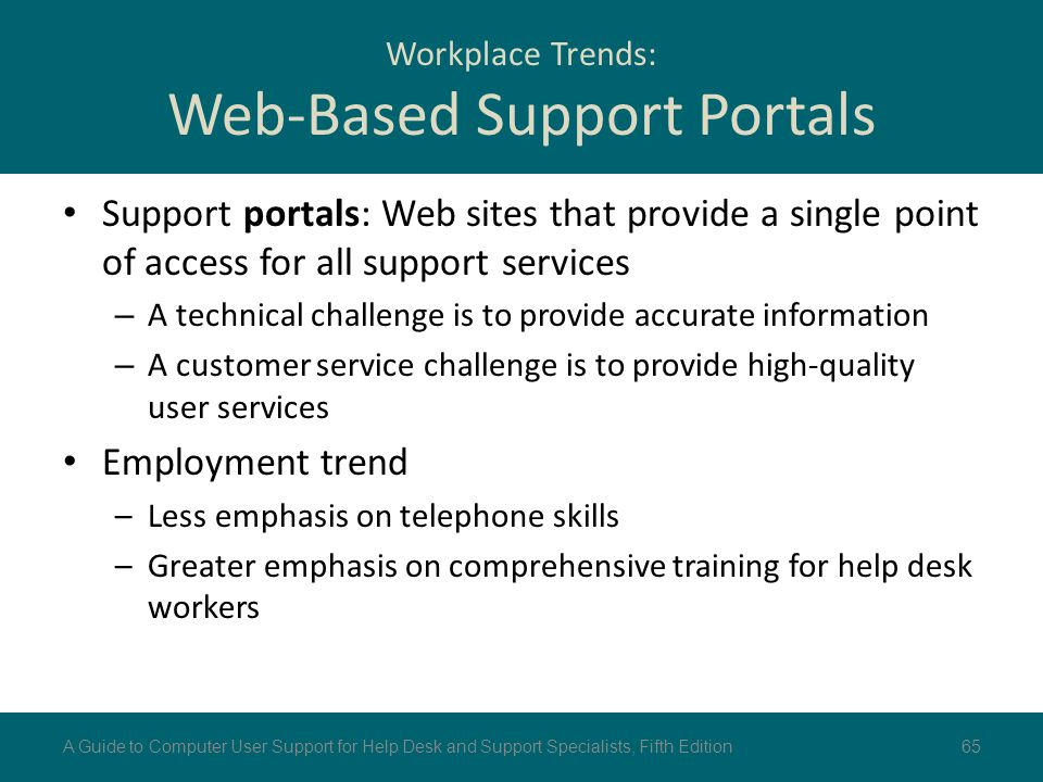 Workplace Trends: Web-Based Support Portals Support portals: Web sites that provide a single point of access for all support services – A technical ch