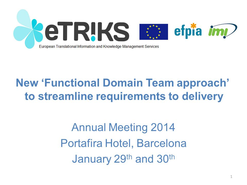 – Introducing the 'Functional Domain Team approach' Problem assessment Proposed solution – Modularity to avoid fragmentation/redundancy – Key roles to streamline work » Functional Domain Team Leads – Levers to influence priorities and progress – Q&A – Review of individual Functional Domain Teams Agenda 2