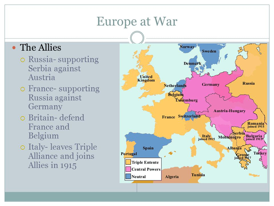 Europe at War The Allies  Russia- supporting Serbia against Austria  France- supporting Russia against Germany  Britain- defend France and Belgium