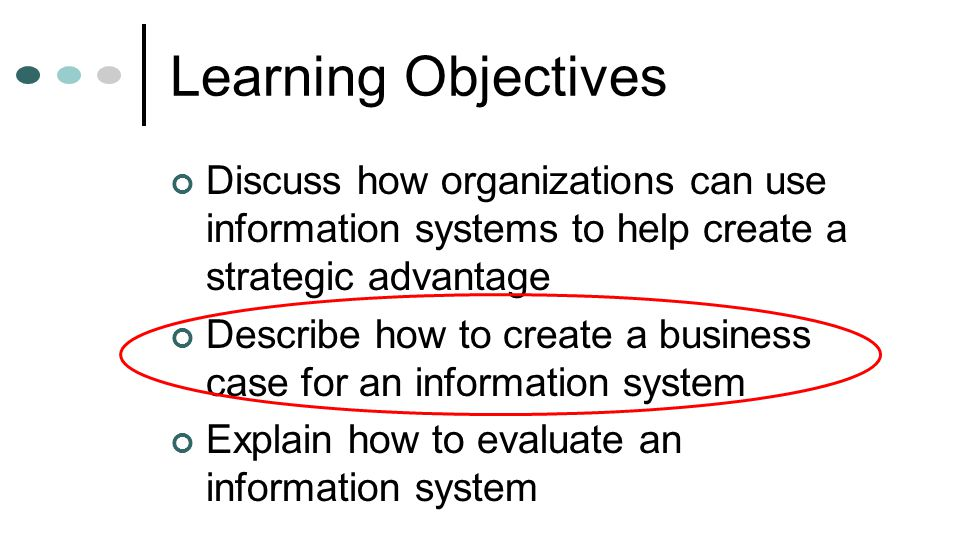 Learning Objectives Discuss how organizations can use information systems to help create a strategic advantage Describe how to create a business case