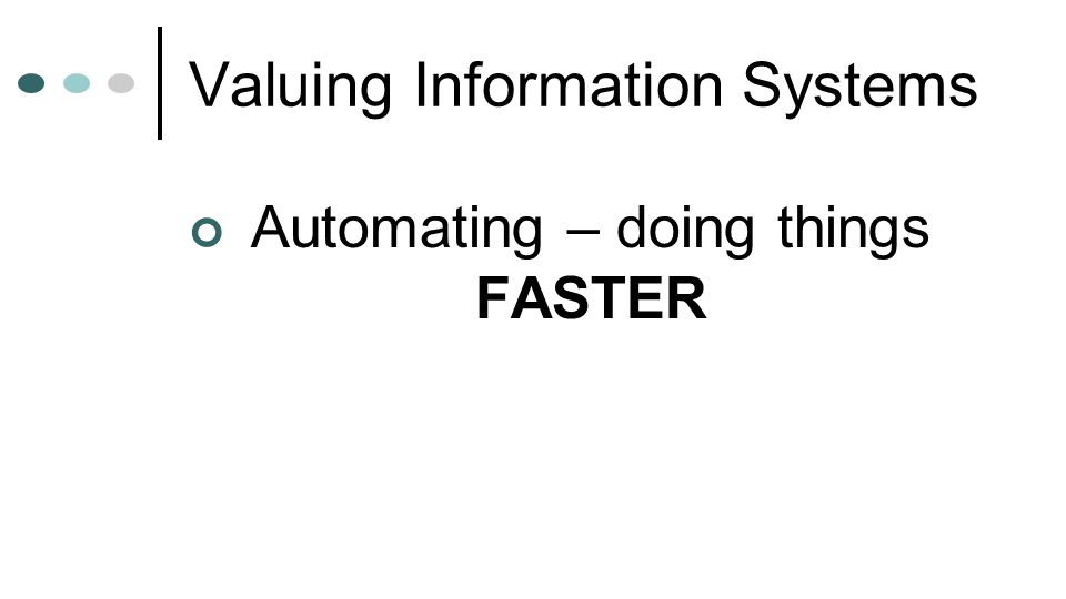 Valuing Information Systems Automating – doing things FASTER