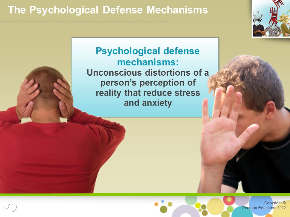 Copyright © Pearson Education 2012 Psychological defense mechanisms: Unconscious distortions of a person's perception of reality that reduce stress and anxiety The Psychological Defense Mechanisms